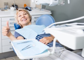 woman comfortable in the dentist's chair